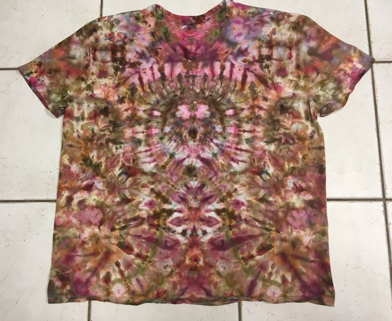 3b358edd2b012 Tie dye/ice dye t-shirt-earth tones-brown maroon green orange gold v-neck  ladies' women's 2XL XXL 2X tie dyed shirt #187