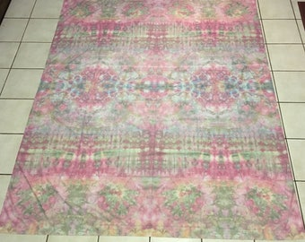 """Gently used full / double size flat sheet (80 x 96"""")- repurposed by tie-dying, soft pastel colors.  IRREGULAR - on sale (see description)"""