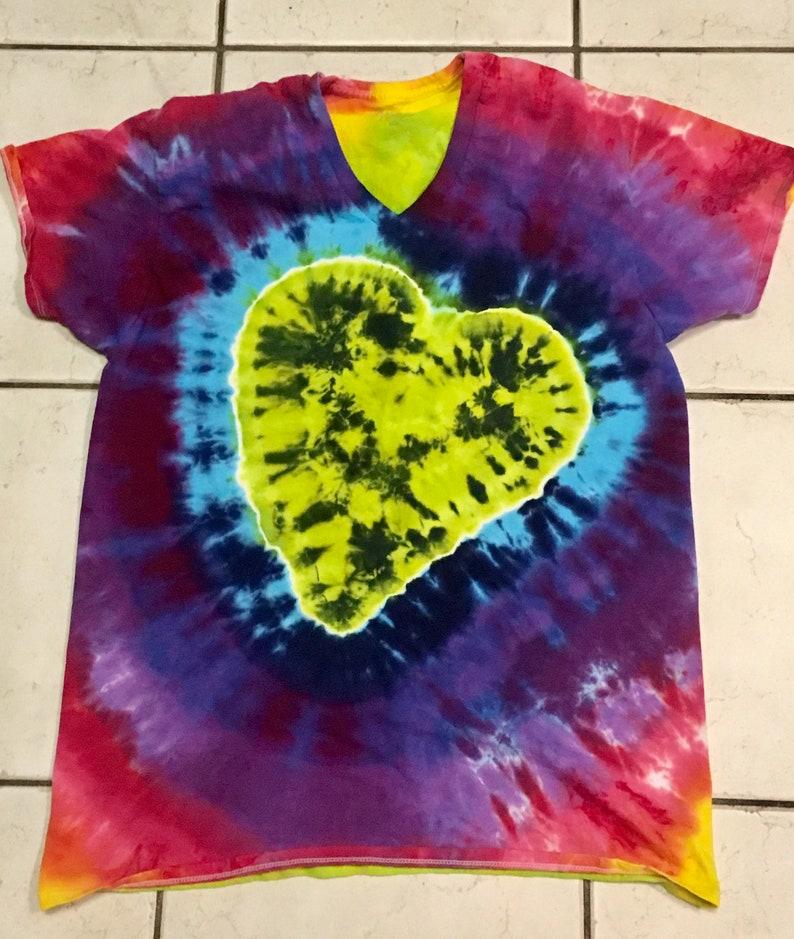 3f86a5df41e9ab HEART Colorful green   rainbow tie dye long sleeve t-shirt