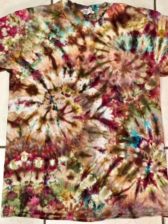 72f281364f64e Tie dye / ice dye t-shirt in earth tones -browns maroon blue tan green gold  adult unisex M Medium tie dyed shirt - #252