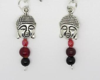 pair of CLIP earrings or ear breakthrough gift MOM, girlfriend, for self same Buddha head.
