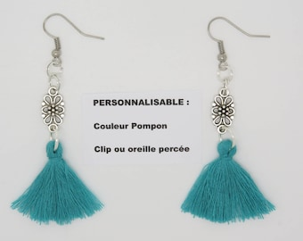 pair of earrings personalized clip or pierced ear tassel turquoise idea gift mother,