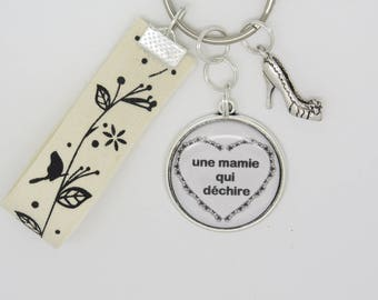 CUSTOMIZABLE key holder or bag charm for a grandma who tear Christmas, birthday, grandmothers day gift idea