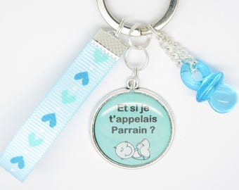 keychain or bag charm, personalized gift for a future Godfather: and I'm calling godfather for baptism, birth...