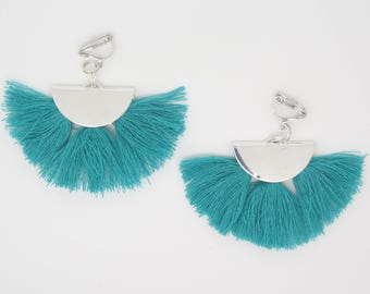 pair of earrings or clip earrings pierced half moon and tassel turquoise idea gift mother.