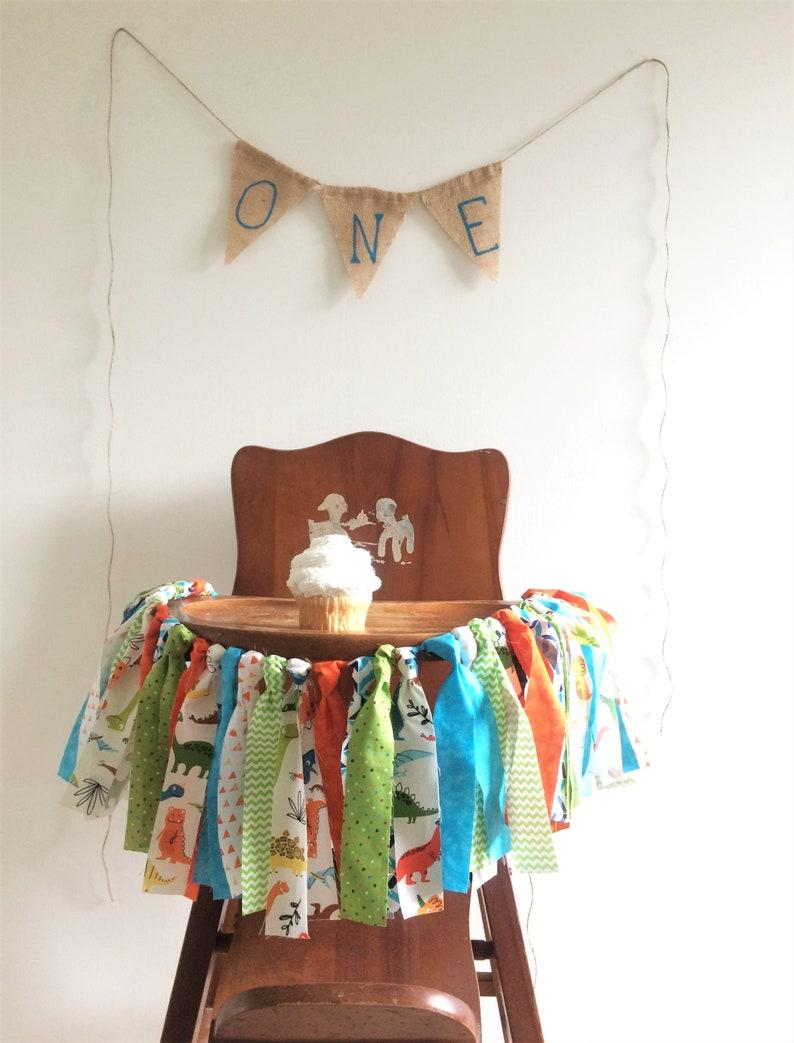Lime Green High Chair Banner Orange Dinosaur Blue Fabric Banner Cake Smash Photo Shoot