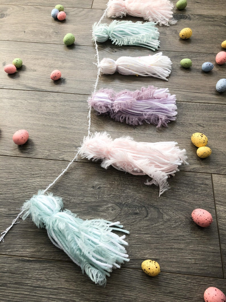 Pastel Yarn Tassel GarlandPastel RainbowEasterBaby Easter ChicksEggsSpring PartyTeepee BannerBaby ShowerPink Purple Mint Green