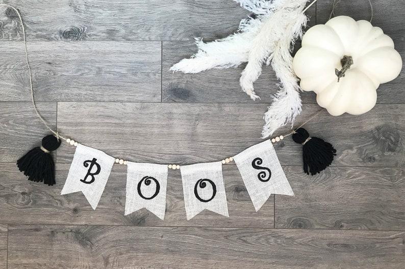 Boho Fall BOOS Banner/Halloween Burlap Banner/Here for the image 0