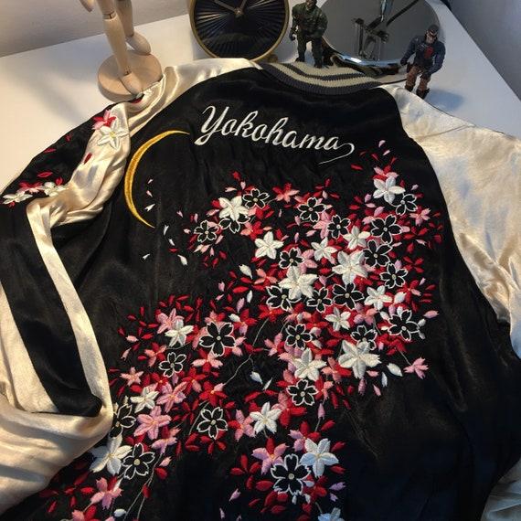 Vintage Iolani Sukajan Black Cherry Blossom Revers