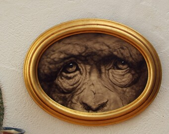 Portrait of Chimpanzee. Original acrylic paint on wood framed in gold oval frame. Chimpanzee paint. Oval gold frame.