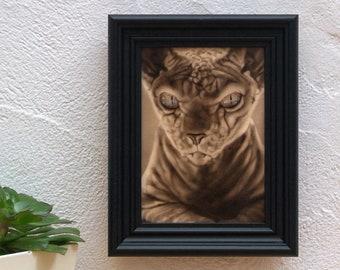 Close up cat. Original acrylic work on wood. cat portrait.