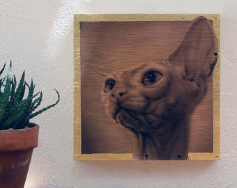 Original painting on wood. Original Cat painting. Small-format paint. Original work by Gato. Original Cat Portrait