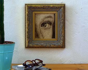 Close up female eye. Original acrylic work on wood. Original small-format work. Small-format work. Mrada Infantil