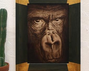 Gorilla, original acrylic work on wood. Gorilla close-up.