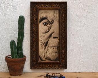 Close up of grandmother 08. Original acrylic work on wood. Close up of Grandma 083.