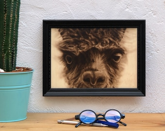 Framed flame portrait. Original painting on a flame wood. Perfect for animal lovers. Framed ogirinal work.