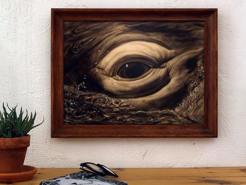 Original framed whale eye paint. Acrylic on wood. Technique: image 0