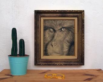 Original acrylic work on wood. Framed animal paint. Monkey frame. Framed frame. Framed paint. Rococo marco