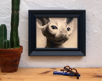 Gift for cat lovers. Original Painting of cat portrait. Framed. Cat Paint ideal for cats lovers.