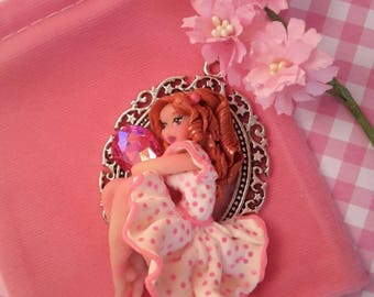 Lila polymer clay, polymer clay necklace sculpture is handmade, necklace, fimo, polymer clay