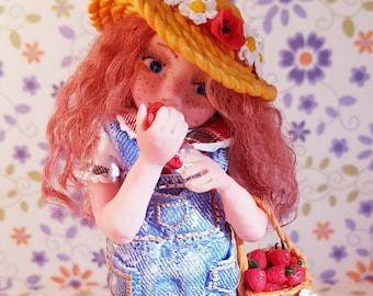 Emelyne and her basket of strawberries, clay, polymer clay, ooak miniature baby doll, clay, fimo, polymer clay art doll baby doll, strawberry