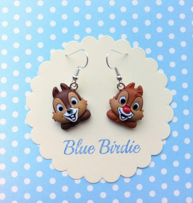 7dffbea70 Disney Chip n Dale earrings Disney jewelry chipmunk earrings | Etsy