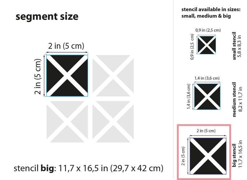 Stencil BIG A3  11,7 x 16,5  29,7 x 42cm Triangle Quads Pattern