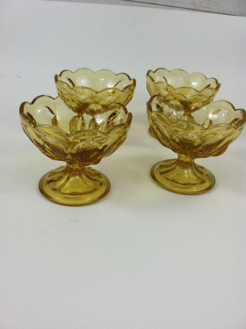 Vintage Dessert Dishes Scalloped Set of 4 Anchor Hocking Amber Comport Dishes Footed Dessert Bowls