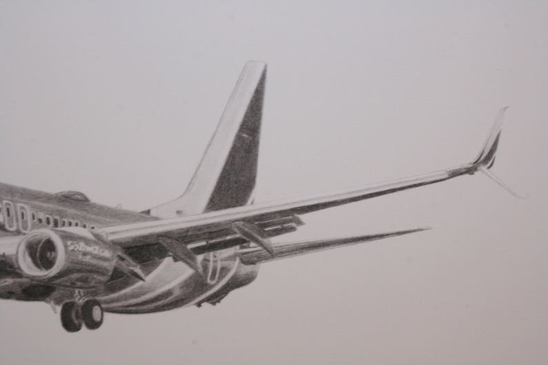 Southwest Airlines Boeing 737 11x14 Archival print of pencil drawing   Perfect gift for the airplane lover, pilot, or flight attendant