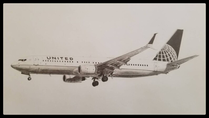 United Airlines Boeing 737 11x14 Archival print of pencil drawing  Perfect  gift for the airplane lover, pilot, or flight attendant
