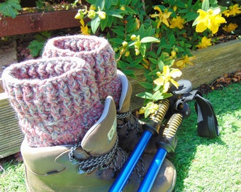 Blush Pink Boot Cuffs, Ankle Warmers in Chunky Aran Yarn with a Light Grey twist, Unisex Adult Size, Hiker Gifts for Outdoor Enthusiasts.