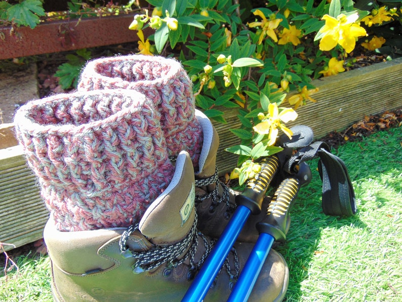Blush Pink Boot Cuffs Ankle Warmers in Chunky Aran Yarn with image 0