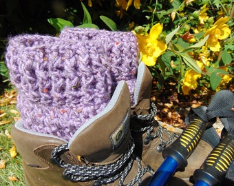 Amethyst Short Boot Cuffs, Purple Ankle Warmers, Chunky Aran Yarn, Welly Toppers, Unisex Adult Size, Hiker Gifts for Outdoor Enthusiasts.
