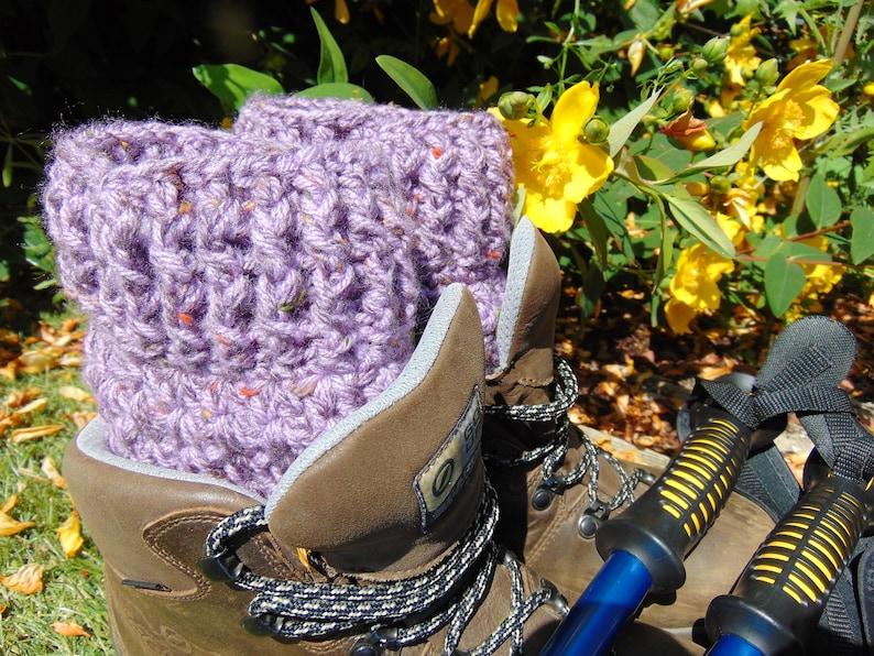 Amethyst Short Boot Cuffs Purple Ankle Warmers Chunky Aran image 0