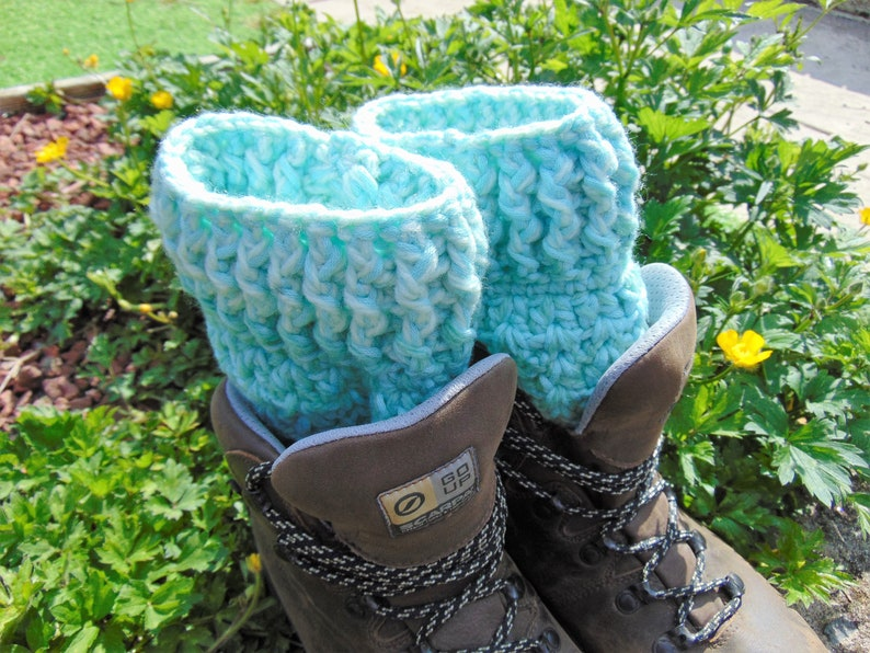 Boot Cuffs Mint Ombre Green and White Chunky Ankle Warmers image 0