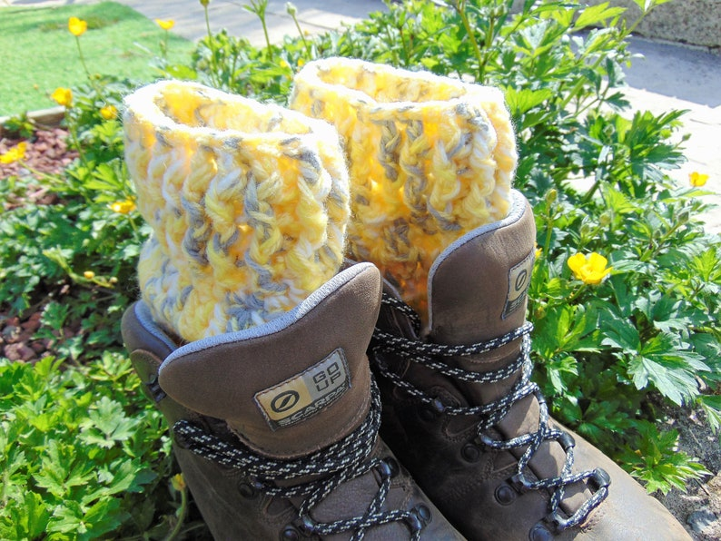 Boot Cuffs Yellow and Grey Chunky Aran Ankle Warmers Unisex image 0
