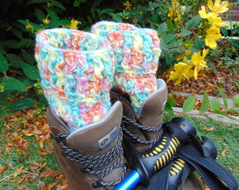 Mardi Gras Boot Cuffs, Multicoloured Chunky Ankle Warmers, Unisex Adult Size, Rainbow Welly Toppers, Hiker Gifts for Outdoor Enthusiasts.