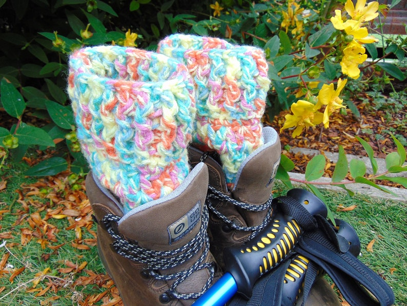 Mardi Gras Boot Cuffs Multicoloured Chunky Ankle Warmers image 0