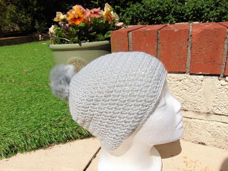 Bobble Beanie Hat Dove Grey with grey Faux Fur Pompom image 0