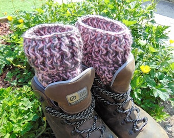 Boot Cuffs, Pink and Grey Ankle Warmers, Chunky Aran Yarn, Unisex Adult Size, Hiker Gifts for Outdoor Enthusiasts.
