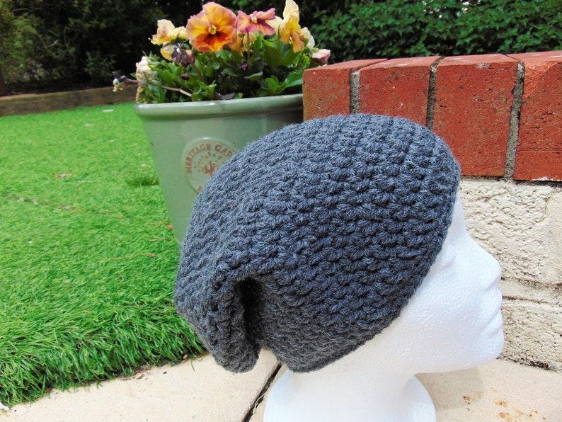 Grey Slouchy Beanie Aran Yarn Unisex Adult Size Gender image 0