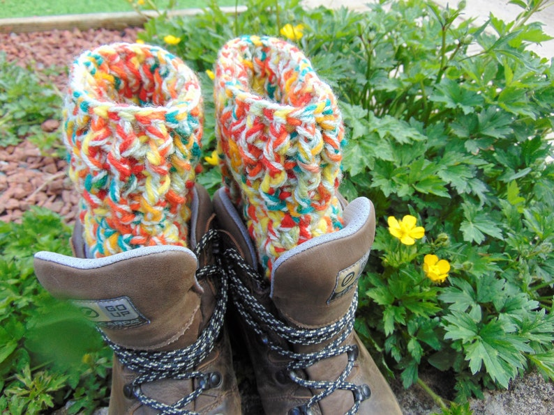 Savannah Boot Cuffs Chunky Ankle Warmers Bright Rainbow Aran image 0