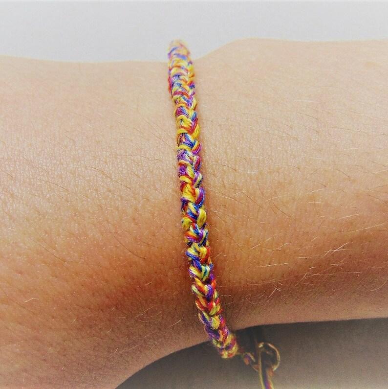 Rainbow Bracelet adjustable size with macrame knot crochet image 0