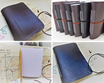 Traveller Notebook - Black or Brown Faux Leather Cover with Plain, Lined or mixed A6 pages and coordinating wrap tie, pocket sized planner.