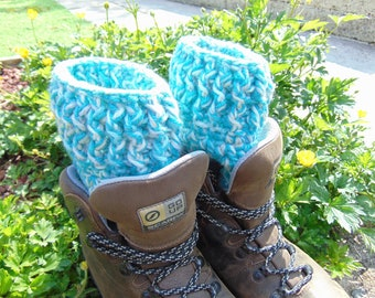 Nimbus Boot Cuffs, Chunky Aran Ankle Warmers in Blue, soft Grey and White colourway, Unisex Adult Size, Hiker Gifts for Outdoor Enthusiasts.