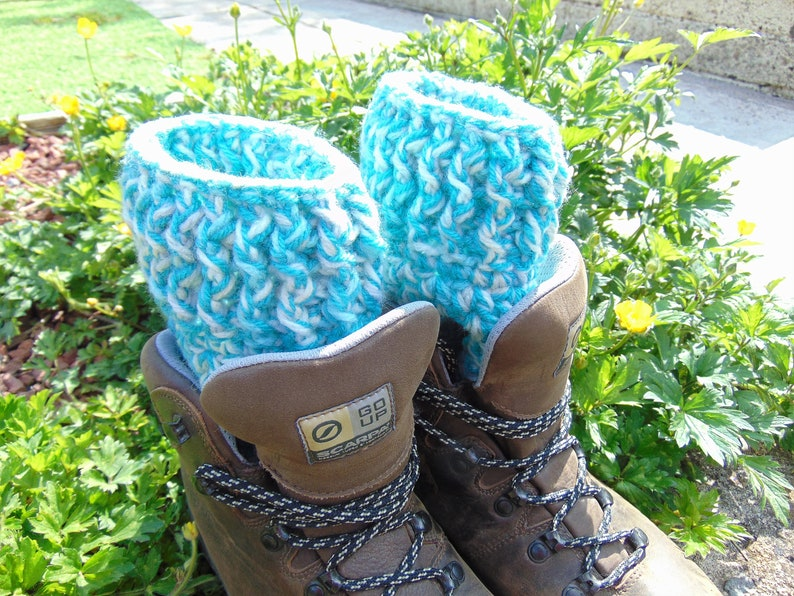 Nimbus Boot Cuffs Chunky Aran Ankle Warmers in Blue soft image 0