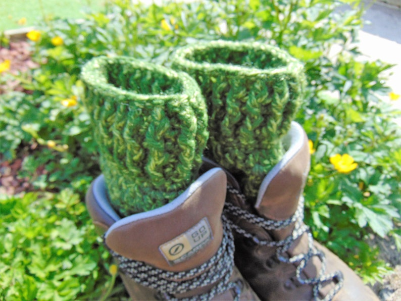 Boot Cuffs Forest Green Ankle Warmers Unisex Adult Size image 0