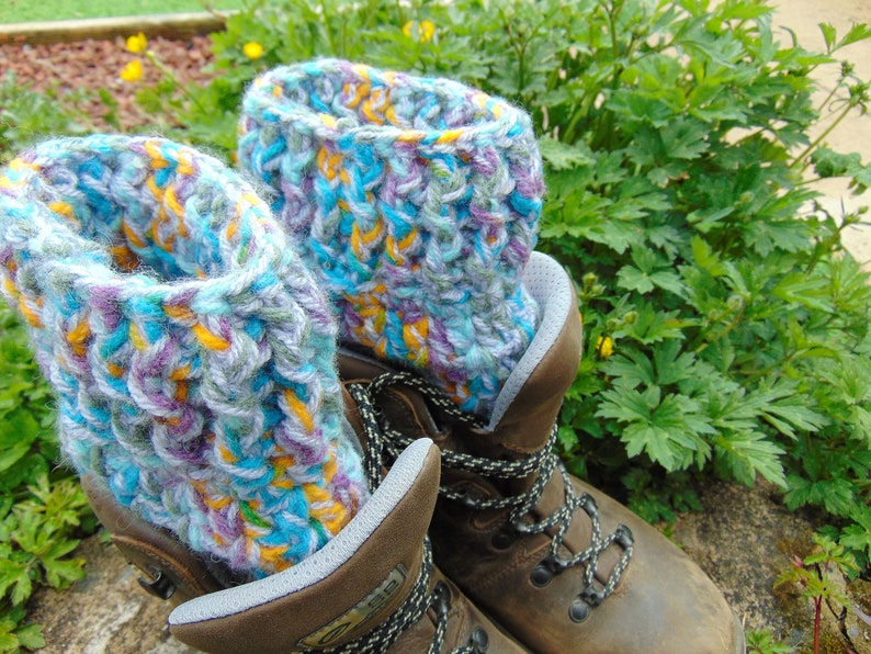 Boot Cuffs  Pageant. Orange Green Purple and Blue chunky image 0
