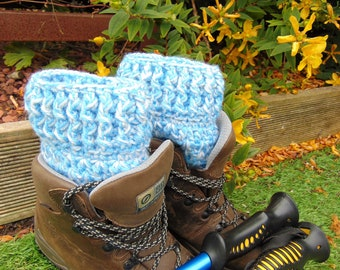 Snowflake Boot Cuffs, Blue and White Chunky Ankle Warmers, Unisex Adult Size, Welly Toppers, Hiker Gifts for Outdoor Enthusiasts.