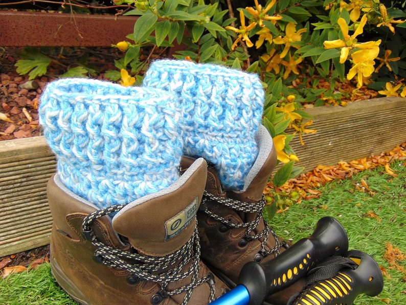 Snowflake Boot Cuffs Blue and White Chunky Ankle Warmers image 0
